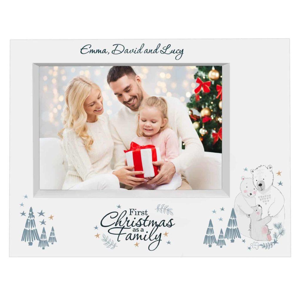 Polar Bear '1st Christmas As A Family' 7x5 Box Photo Frame