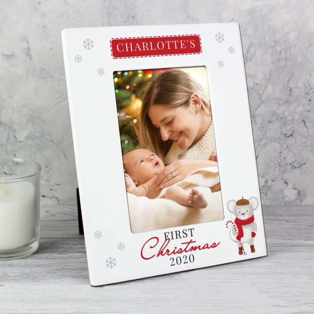 1st Christmas' Mouse White 6x4 Photo Frame