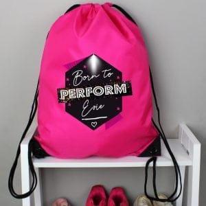 Personalised 'Born to Perform' Pink Kit Bag