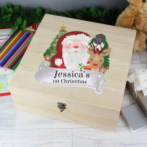 Personalised Colourful Santa Large Wooden Christmas Eve Box