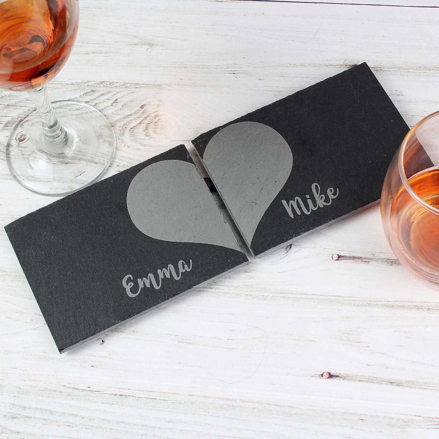 Personalised Two Hearts Slate Coaster Set