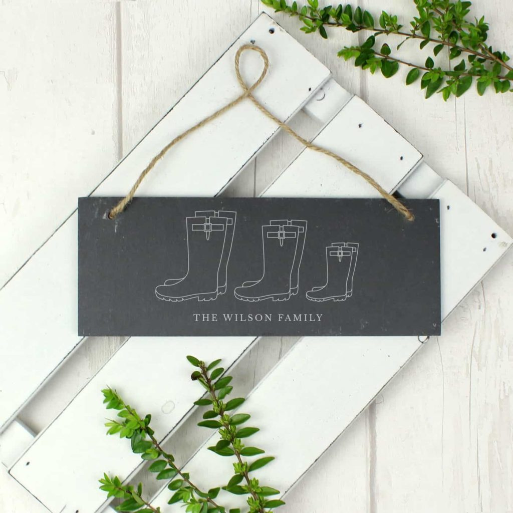 Welly Boot Family of Three Hanging Slate Plaque