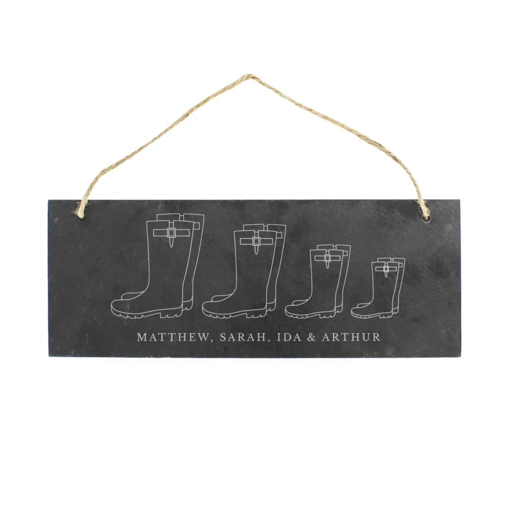 Welly Boot Family of Four Hanging Slate Plaque