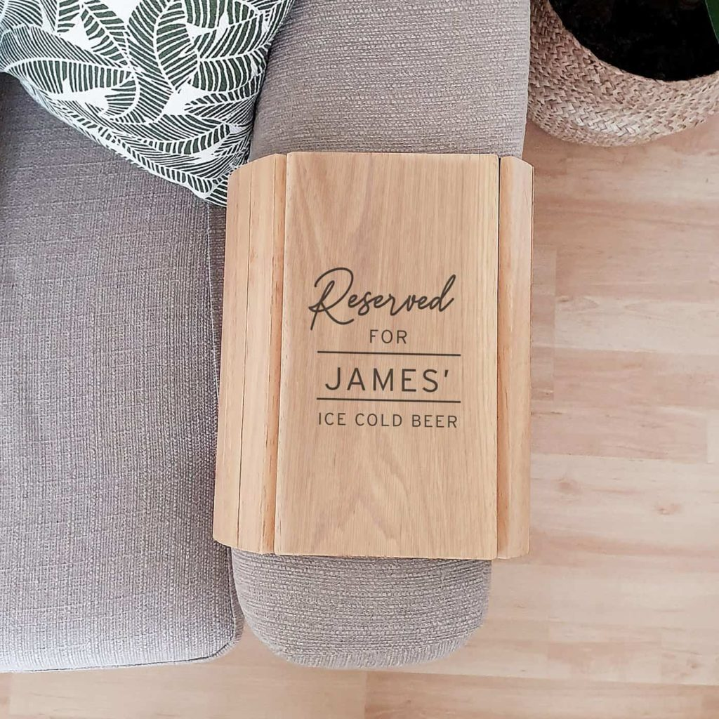 Personalised Classic Wooden Sofa Tray