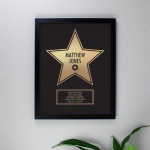 Personalised Walk of Fame Star Award Black Framed Print