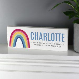 Personalised Rainbow Wooden Block Sign
