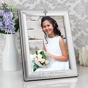 Silver Plated 5x7 Elegant Cross Photo Frame
