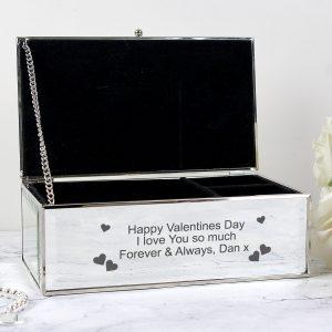 Hearts Mirrored Jewellery Box