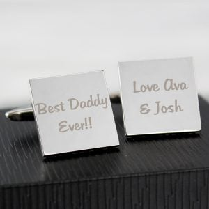 Any Message Square Cufflinks - 2 lines