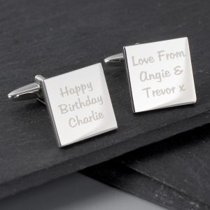 Any Message Square Cufflinks - 3 lines