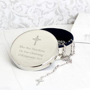 Rosary Beads and Cross Round Trinket Box