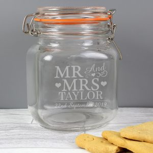 Mr & Mrs Glass Kilner Jar