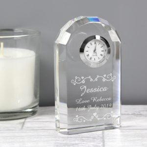 Heart Swirl Crystal Clock