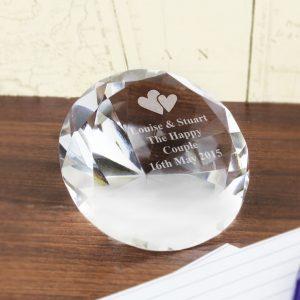 Heart Motif Diamond Paperweight