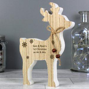 Rustic Wooden Reindeer Decoration