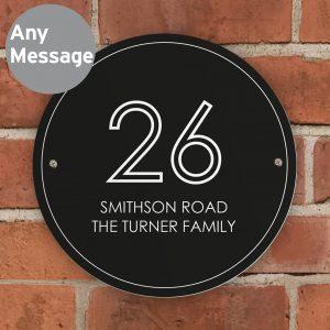 Black Number & Name House Sign