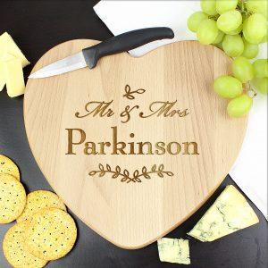 Mr and Mrs Leaf Heart Chopping Board