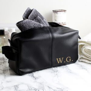 Personalised Luxury Initials Black leatherette Wash Bag