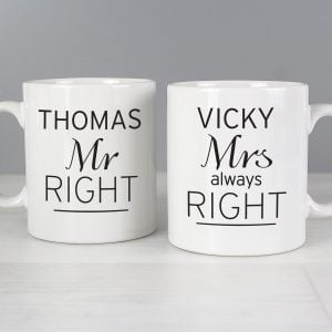 Classic Mr Right/Mrs Always Right Mug Set