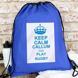 Blue Keep Calm Swim & Kit Bag