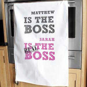 The Real Boss White Tea Towel