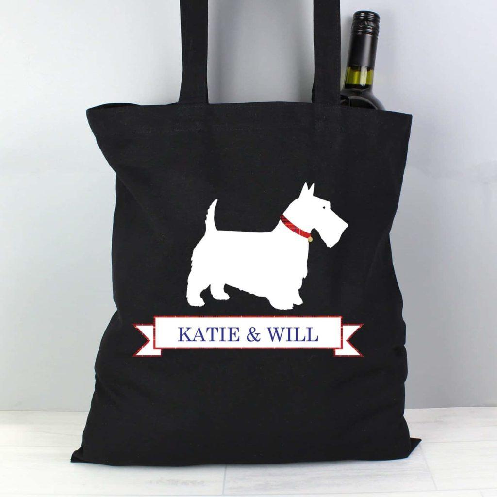 Scottie Dog Black Cotton Bag