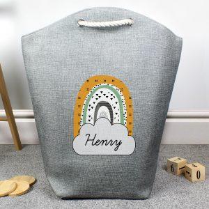Personalised Mustard & Green Rainbow Storage Bag
