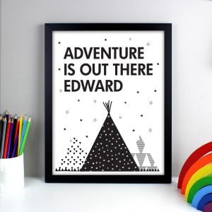 Personalised 'Adventure Is Out There' Black Framed Print