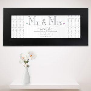 Decorative Wedding Mr & Mrs Black Name Frame