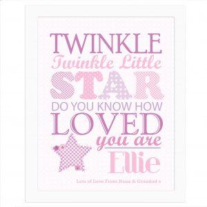 Twinkle Girls Poster White Frame