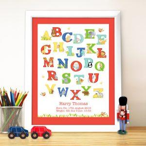 Animal Alphabet White Poster Frame