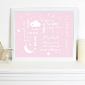 Twinkle Twinkle Typography Pink Poster Frame