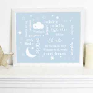 Twinkle Twinkle Typography Blue Poster Frame