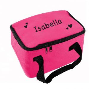 Black Hearts Pink Lunch Bag