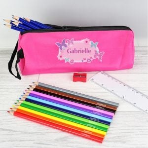 Pink Butterfly Pencil Case with Pencils & Crayons