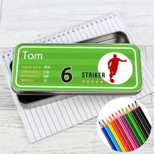 Team Player Pencil Tin with Pencil Crayons