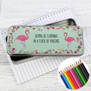 Flamingo Pencil Tin with Pencil Crayons