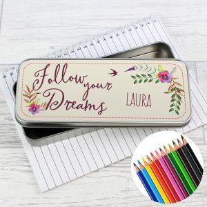Dreams Pencil Tin with Pencil Crayons