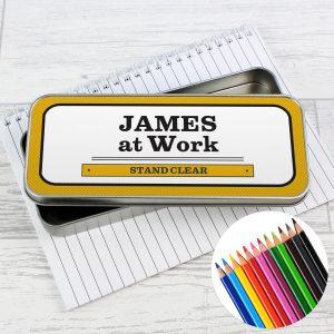 Man at Work Pencil Tin with Pencil Crayons