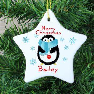 Felt Stitch Penguin Ceramic Star Decoration