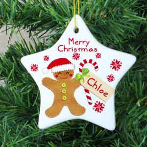 Felt Stitch Gingerbread Man Ceramic Star Decoration