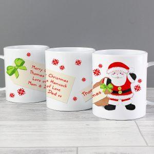 Felt Stitch Santa Plastic Mug