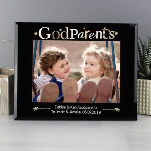 Godparents Black Glass 5x7 Photo Frame