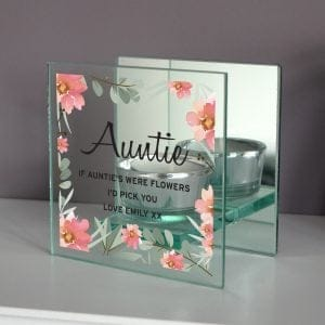 Floral Sentimental Mirrored Glass Tea Light Holder