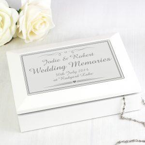 Silver Elegant Wooden Jewellery Box