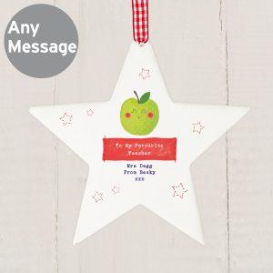 Happy Apple Wooden Star Decoration