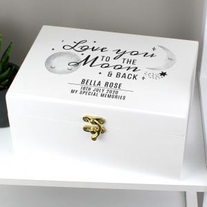 Personalised Baby To The Moon and Back White Wooden Keepsake Box