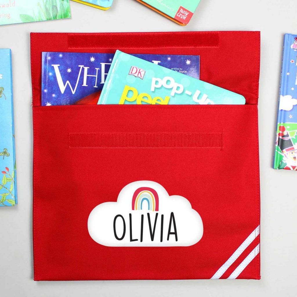 Personalised Rainbow Red Book Bag