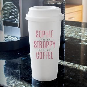 Personalised Pink Text Slogan Insulated Eco Travel Cup