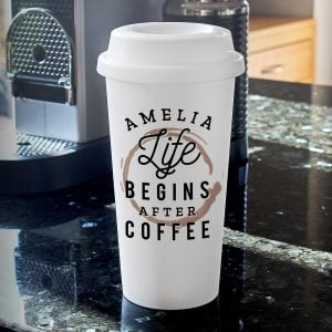 Personalised 'Life Begins After Coffee' Insulated Eco Travel Cup